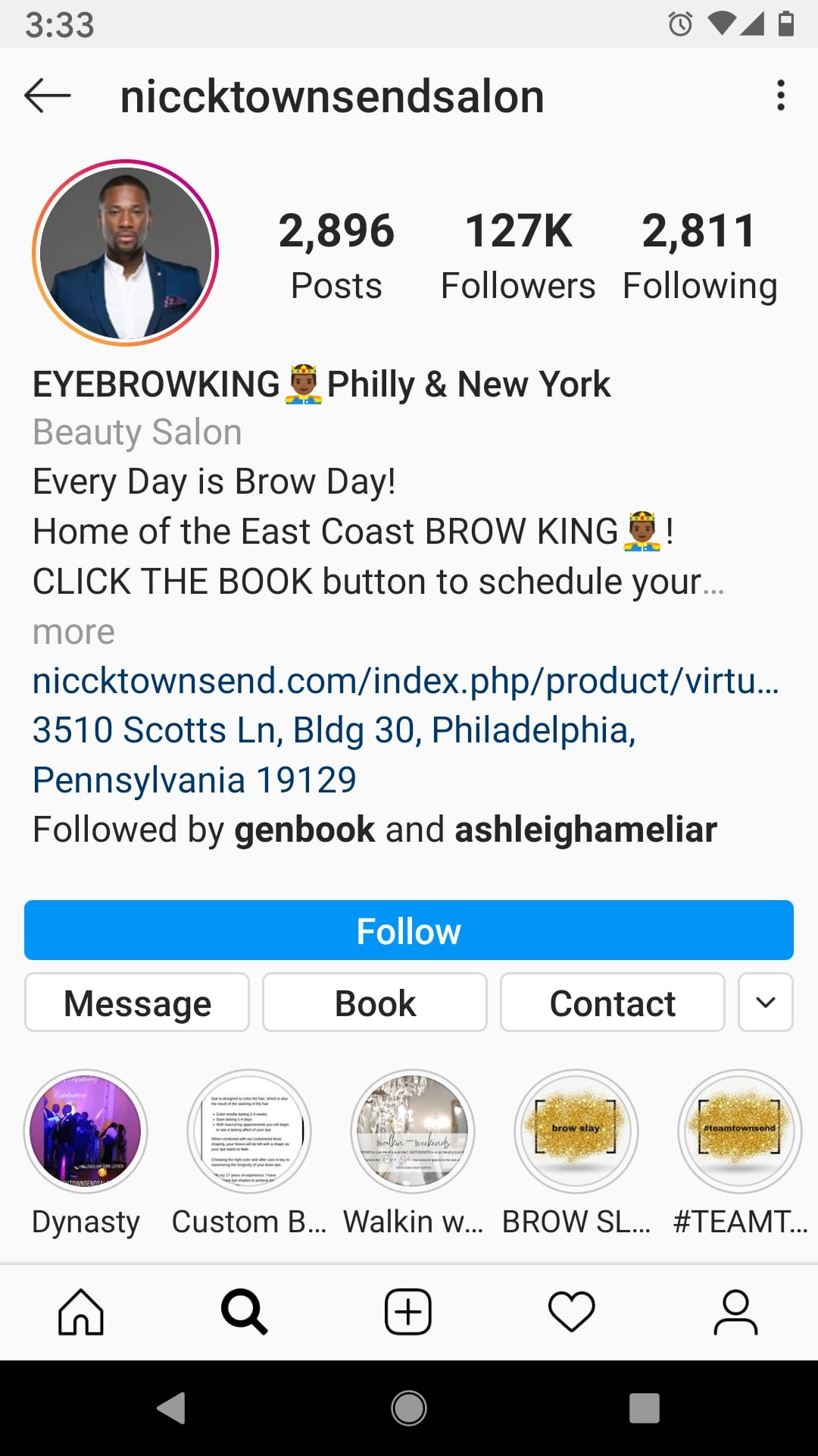 Online Appointment Bookings: Instagram book now button