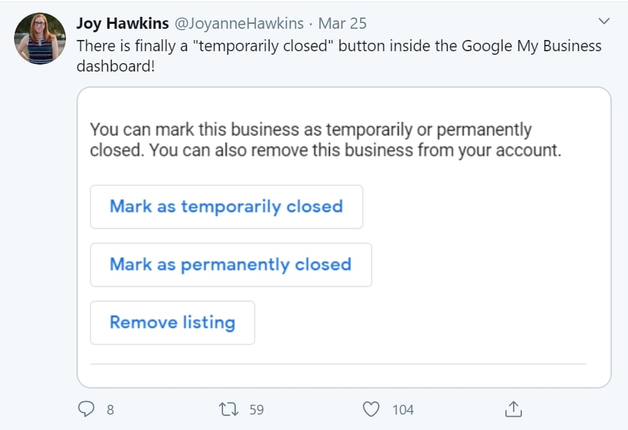 What is Local SEO: temporarily closed