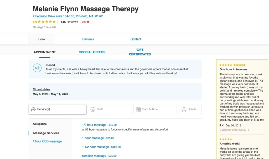 Massage Therapy Software: Additional Booking Options