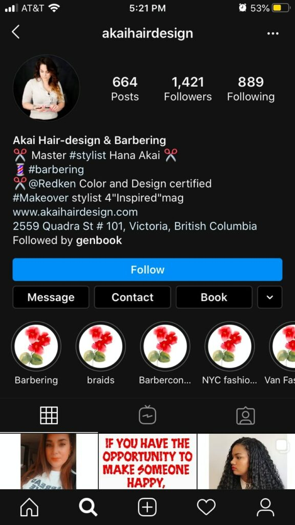 Instagram marketing for small businesses: Akai Hair