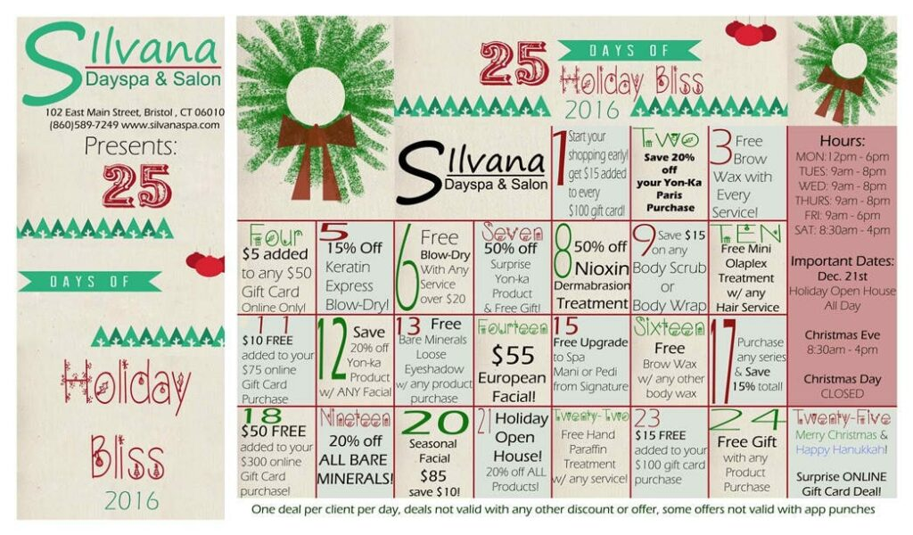 salon advertising examples: silvana day spa