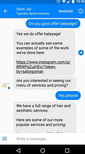 salon advertising examples: salon joy