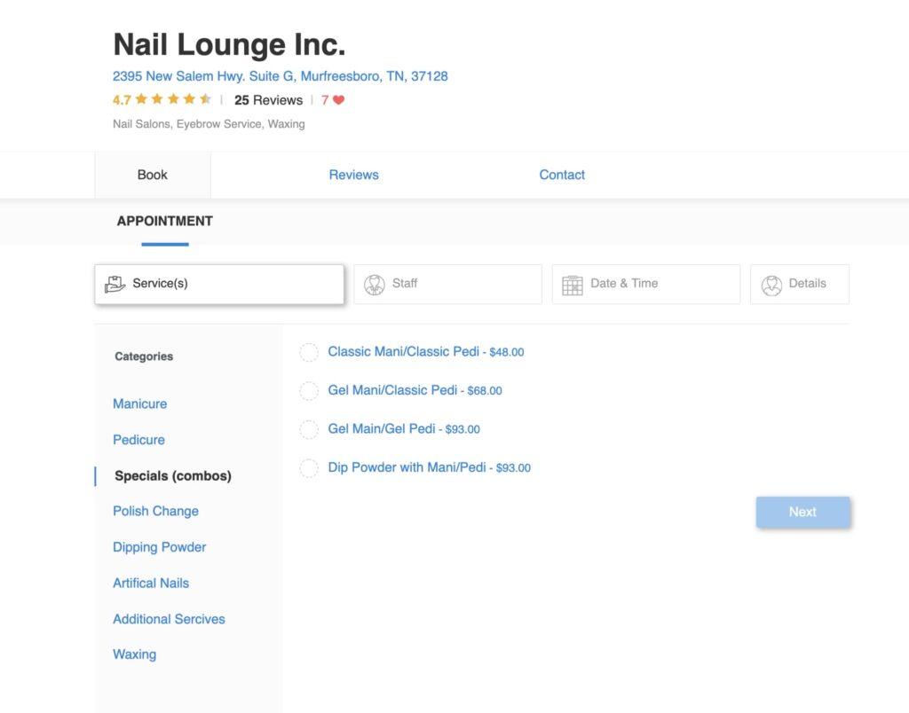Salon menu: Nail lounge