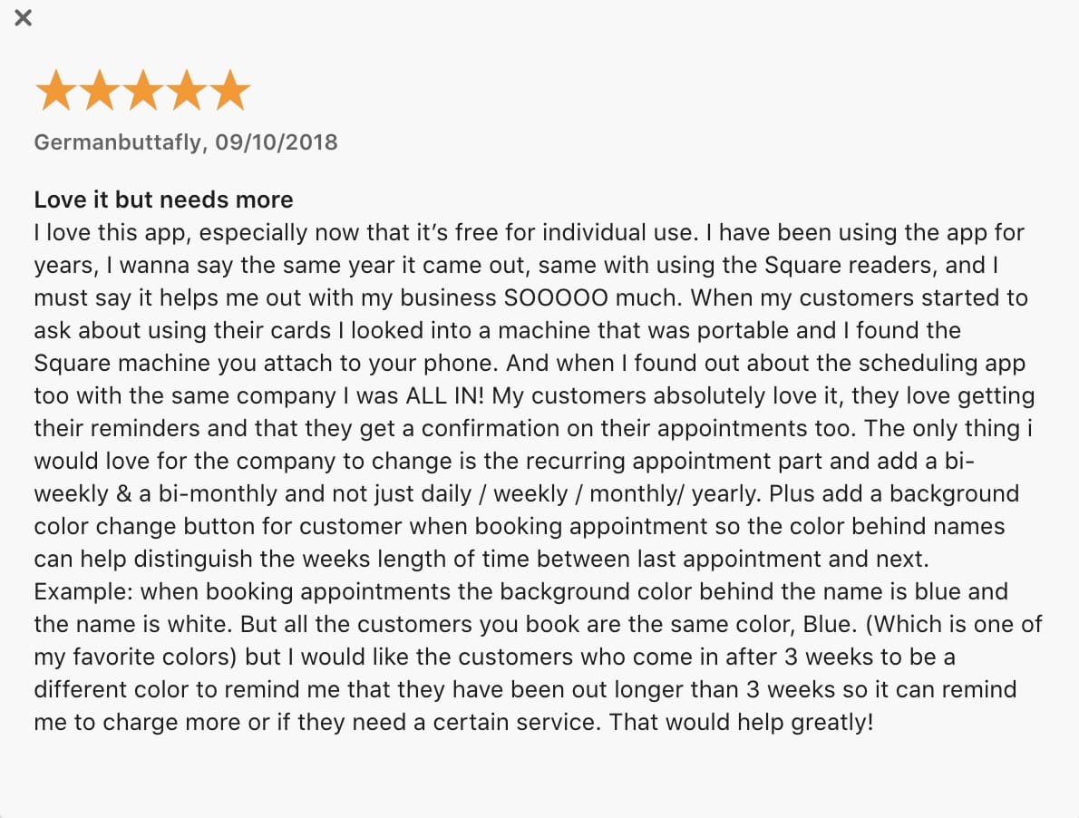 Square review and rating Appstore