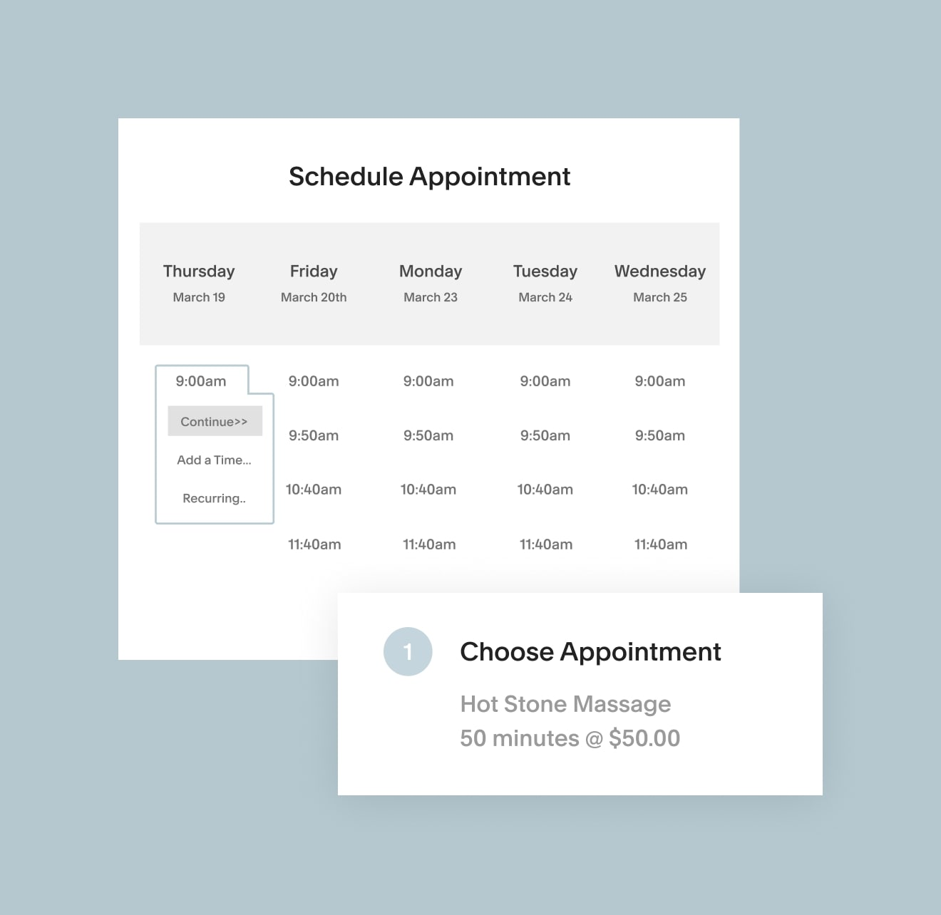 Acuity Scheduling app