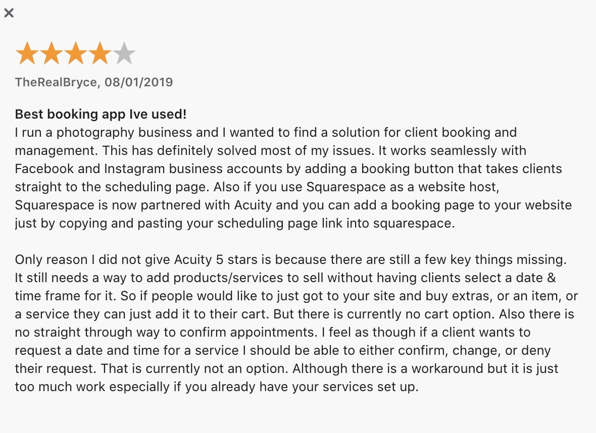 Acuity review and rating Appstore.
