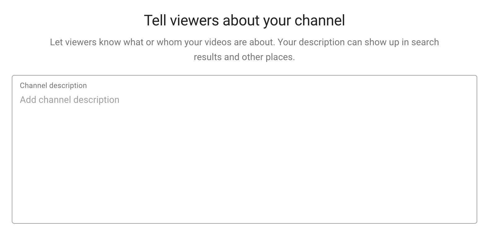 Description box in YouTube