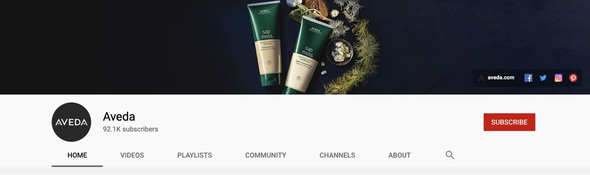 Aveda YouTube channel