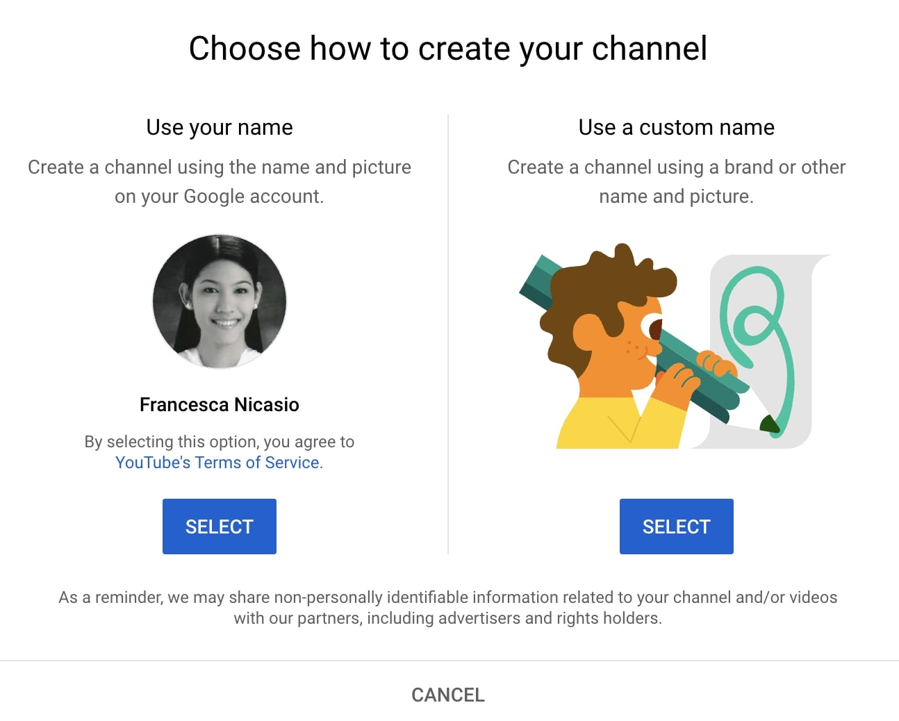 How to create a YouTube channel name