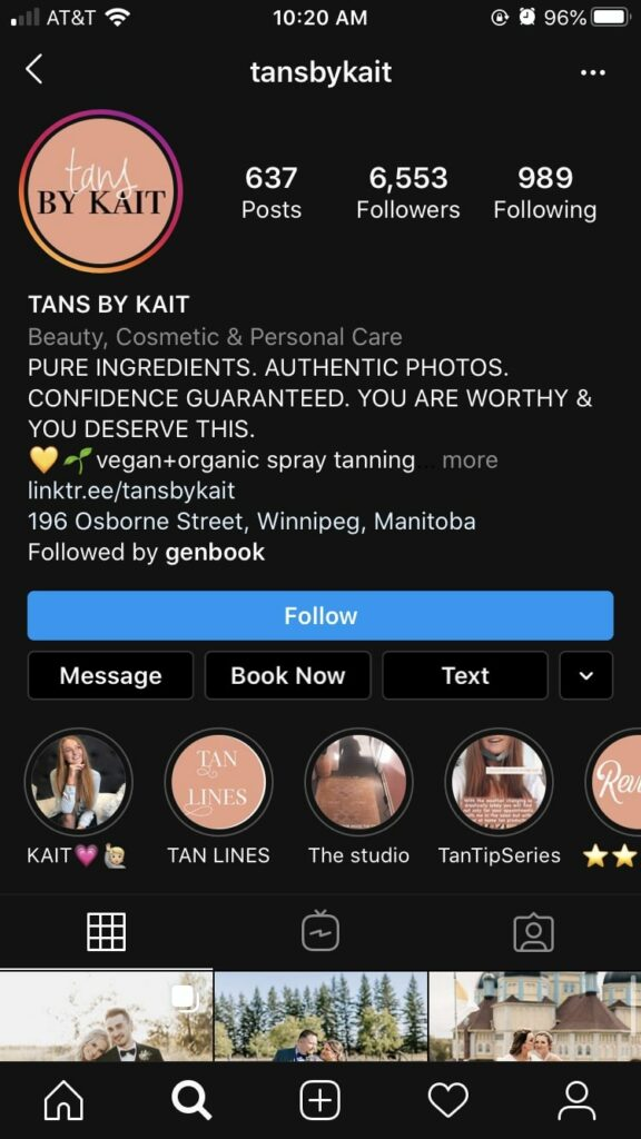 Tans by Kait Tanning salon Instagram page