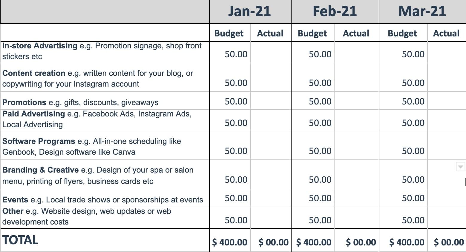 Sample marketing budget planner