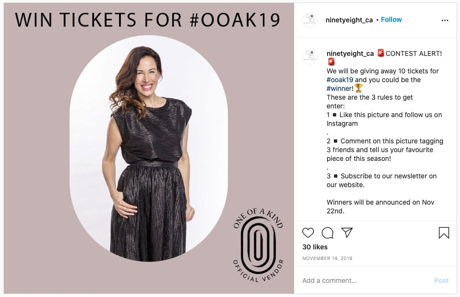 Instagram content roll out giveaways