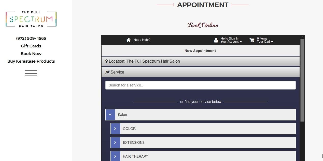 Website online booking