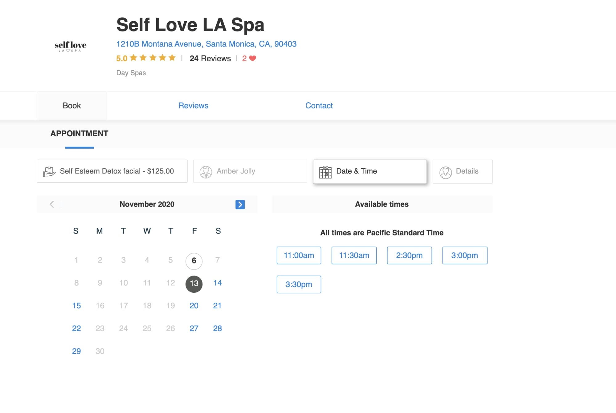 Self love spa booking page