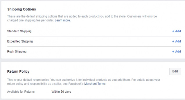 Choose Shipping options Facebook Shops