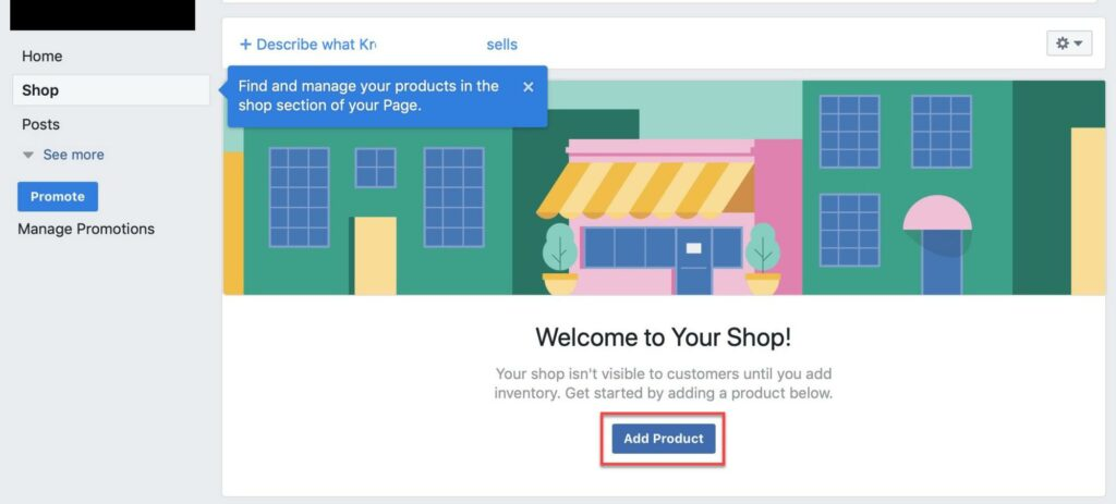 Add product to Facebook shops