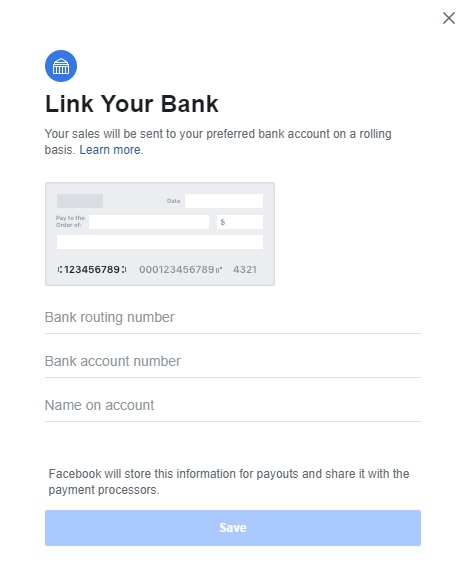 Link your bank account to Facebook Shops