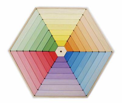 Coloured Hexagon Wooden Shape Puzzle