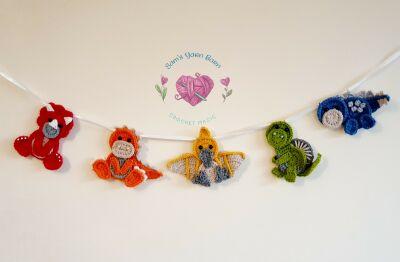 Crochet Dinosaur garland wall decor