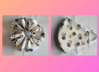 minions scrunchie and matching mask set