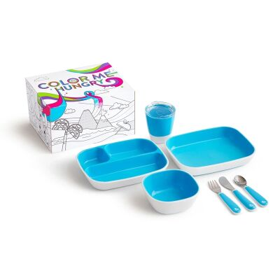 Munchkin Colour Me Hungry Dinning Set Blue 7 Piece