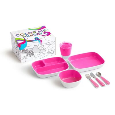 Munchkin Colour Me Hungry Dinning Set Pink 7 Piece