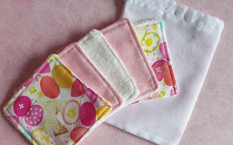 Pink blob reusable/washable makeup removal pads