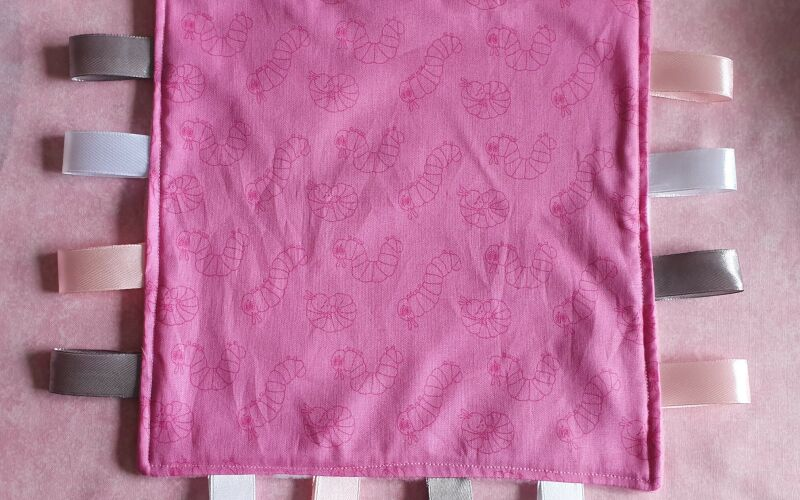 Pink Caterpillar taggie comforter blanket