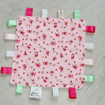 Pink Floral Taggie Blanket