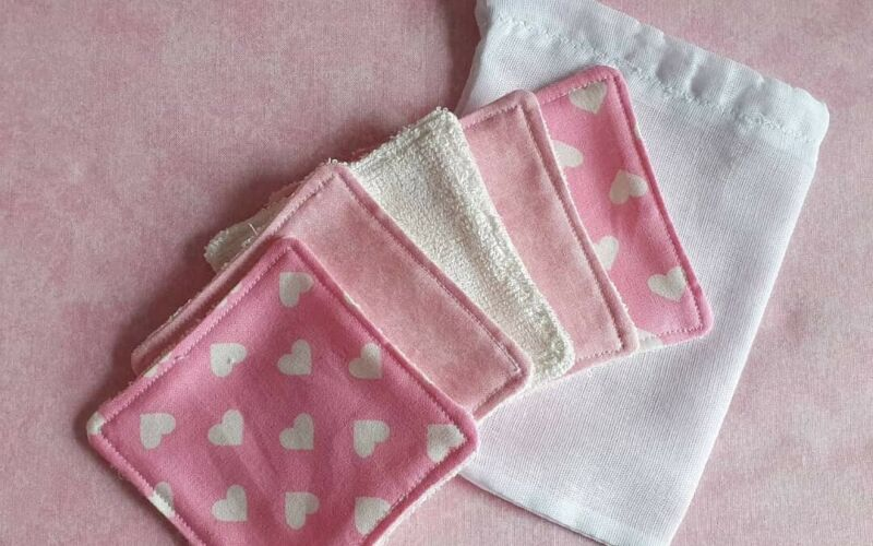 Pink heart reusable/washable makeup removal pads