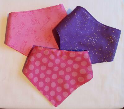 pink/purple Handmade bandana baby bib set