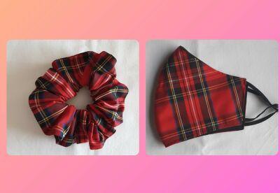 tartan scrunchie and matching mask set