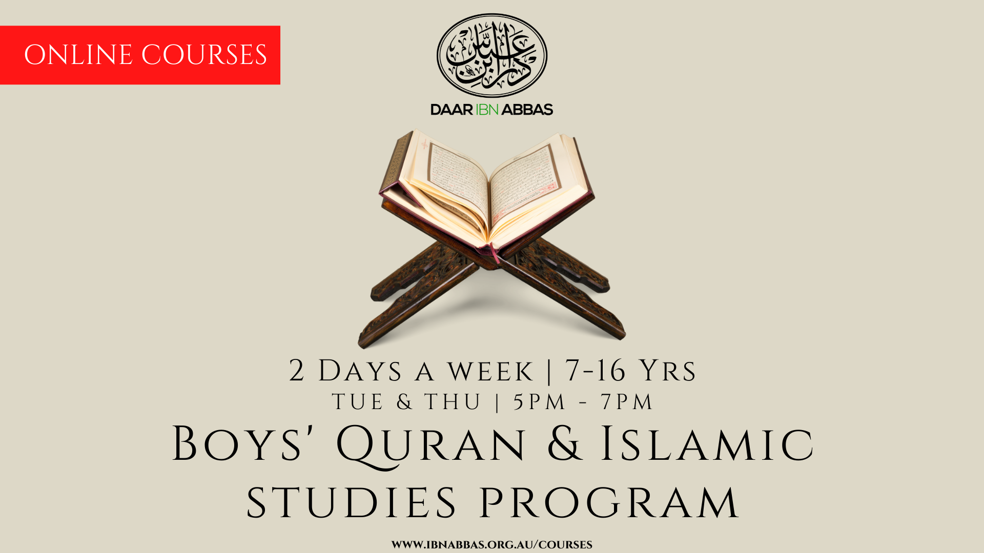 2 Days a Week Boys Quran and Islamic Studies Progr...