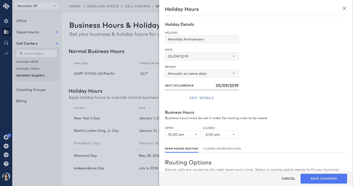 Call Routing Custom Holiday Hours