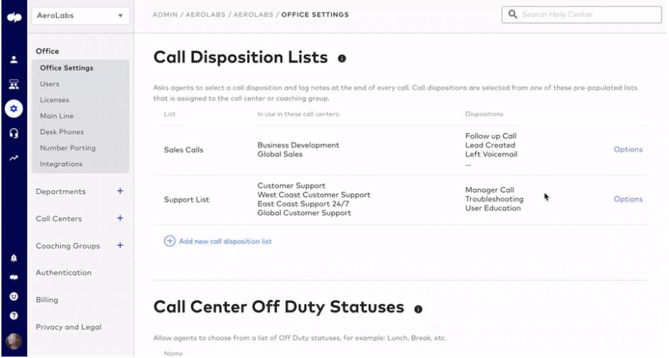 Call disposition