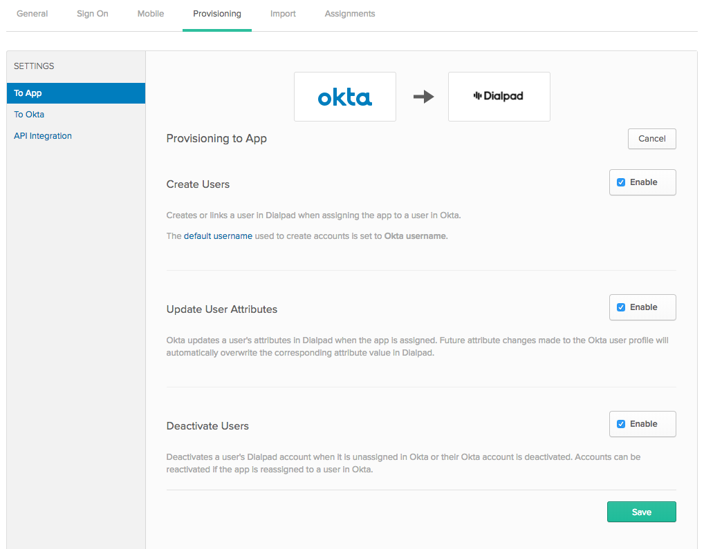 User Management Okta