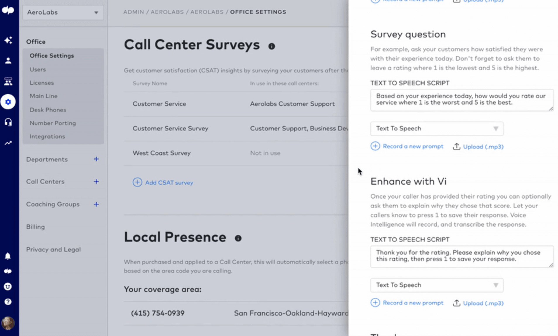Adding questions to a csat survey in dialpad contact center