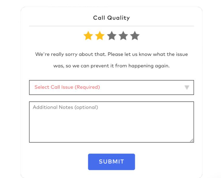 Dialpad call quality feedback