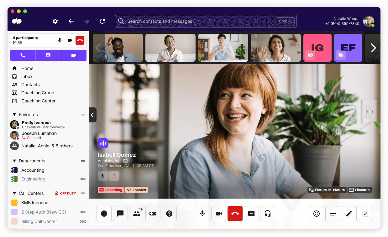 Dialpad meetings in app