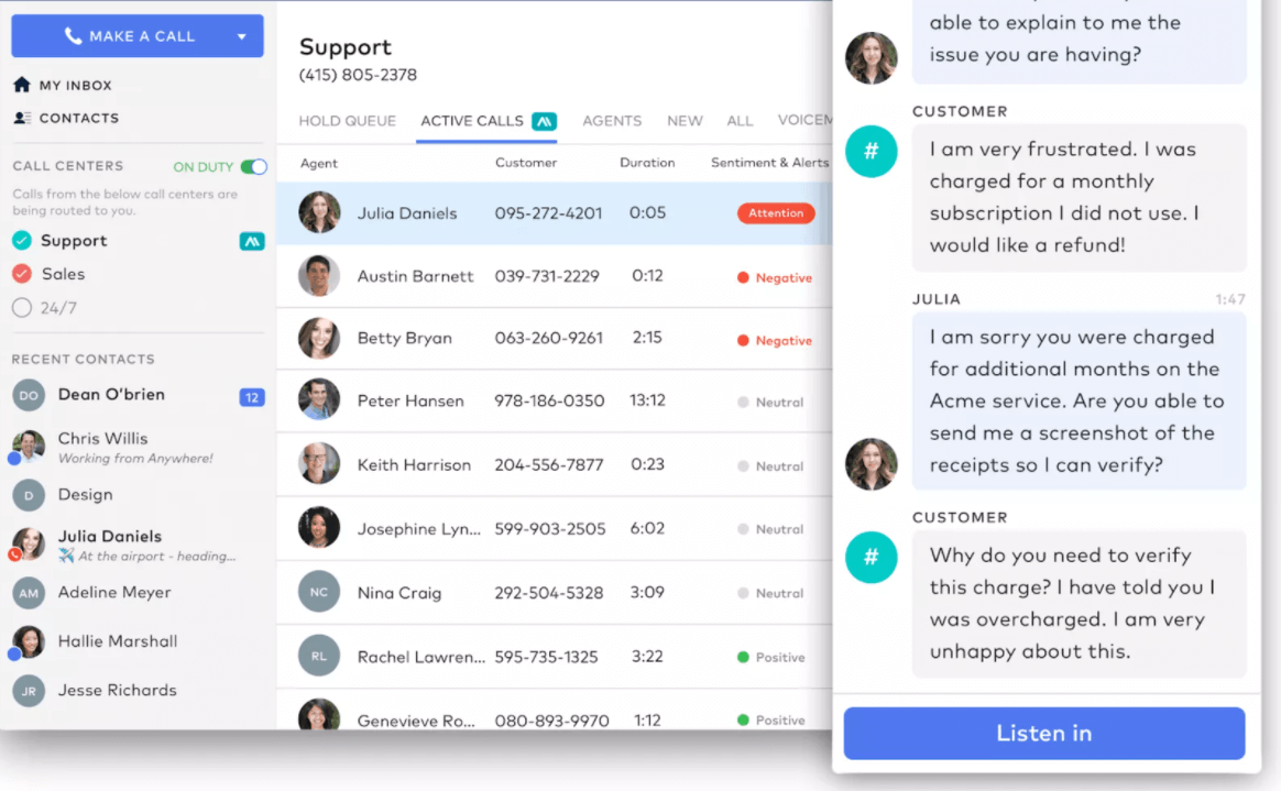 dialpad support number listing