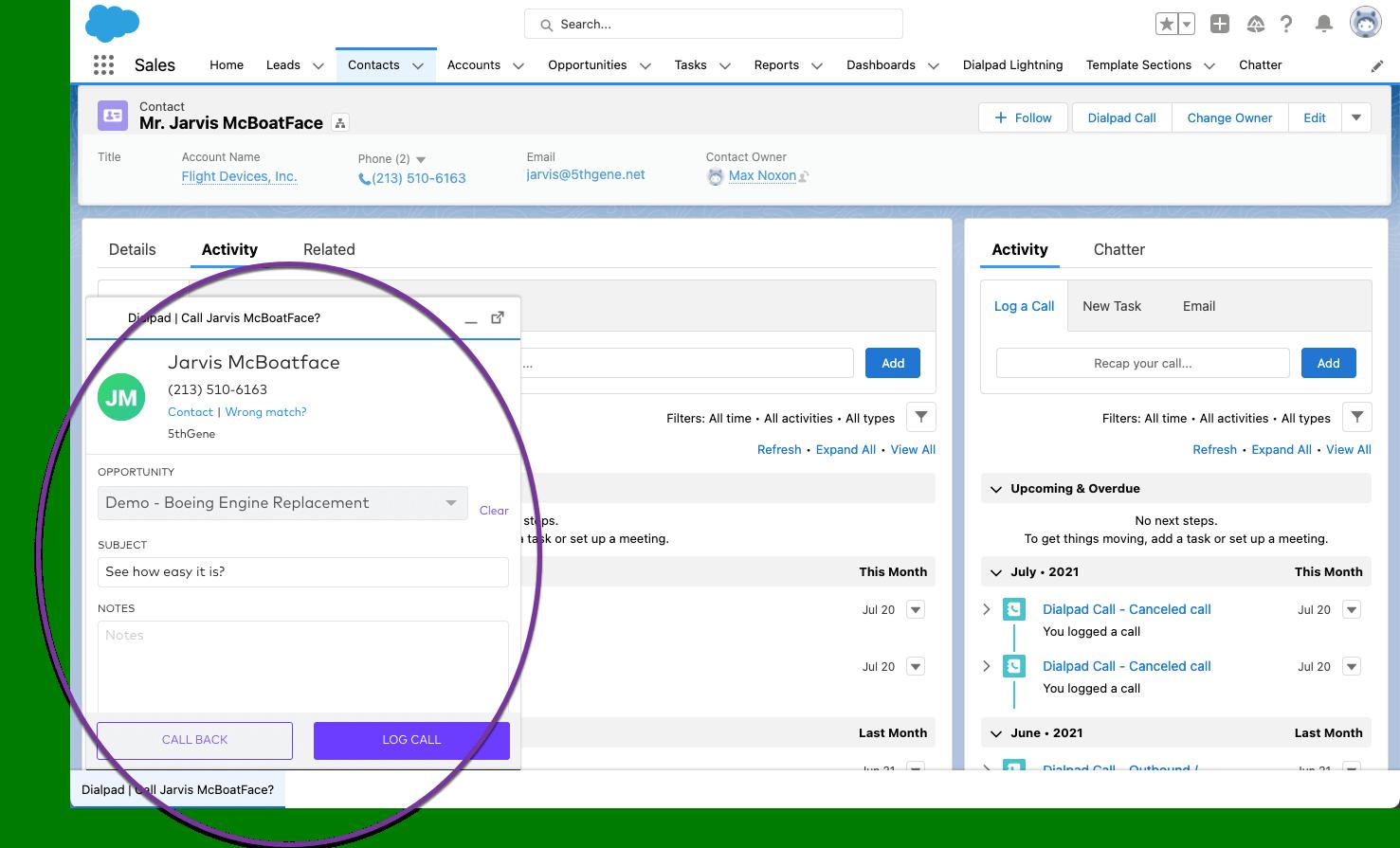 Salesforce dialpad cti maxs example