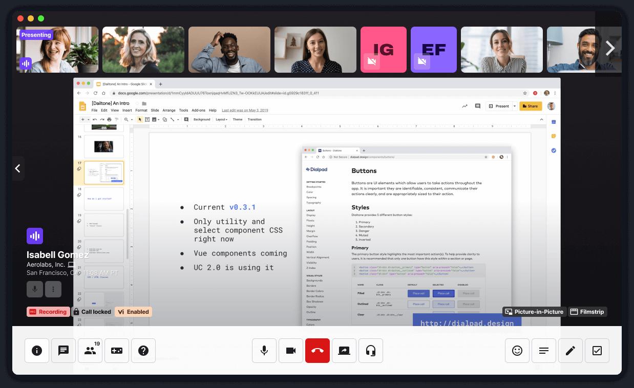 screen sharing in dialpad