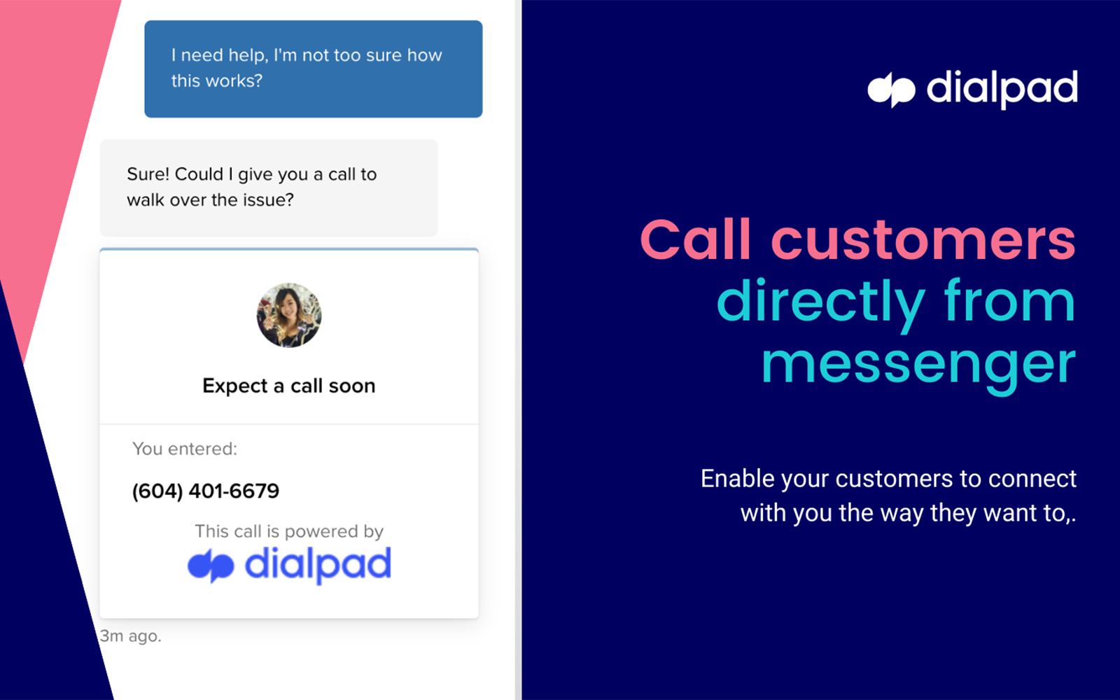 taking a voice call in dialpad from intercom chat message