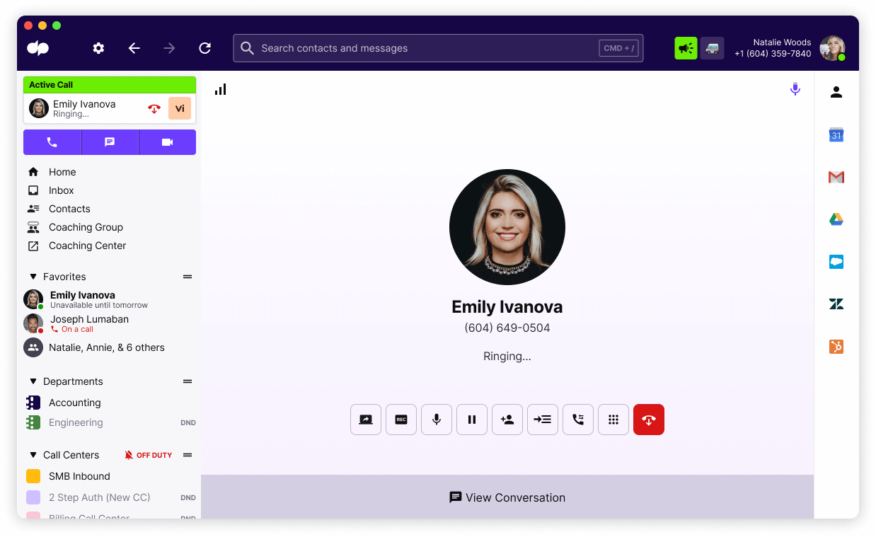Outgoing Call in dialpad
