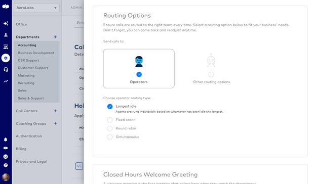 call routing options in dialpad contact center