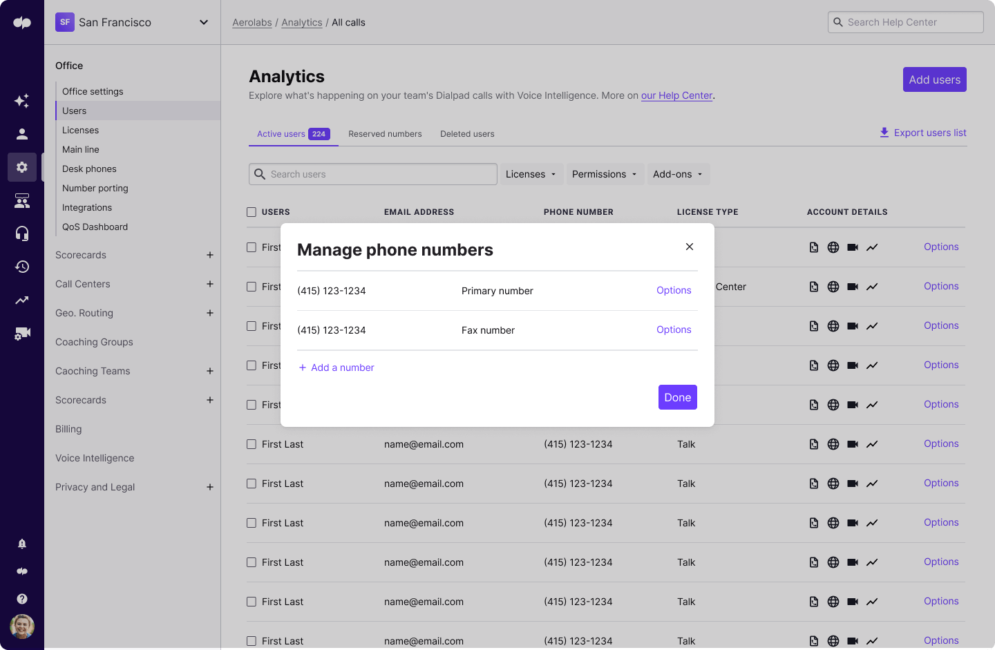 adding or managing phone numbers in dialpad
