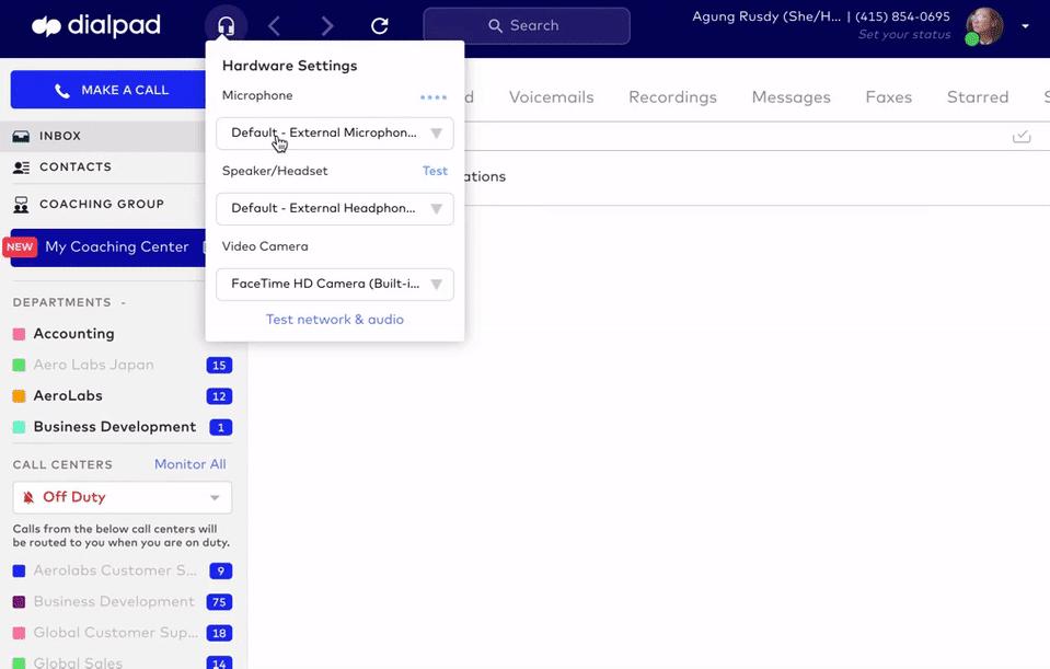 adjusting audio settings in dialpad app