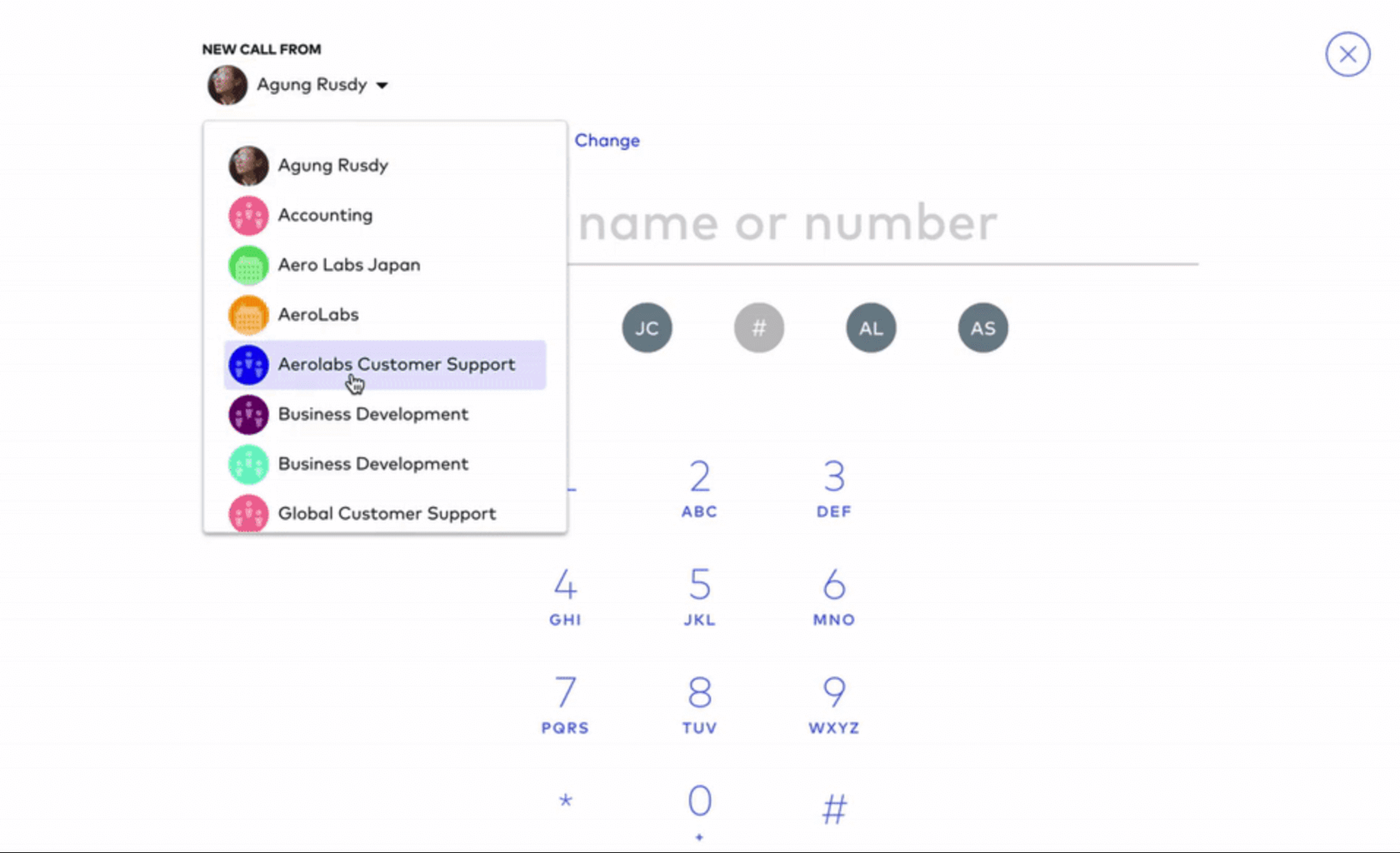 using different caller IDs when calling from Dialpad