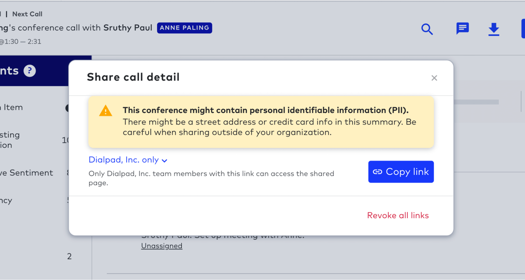 automatic detection of personal information in dialpad contact center