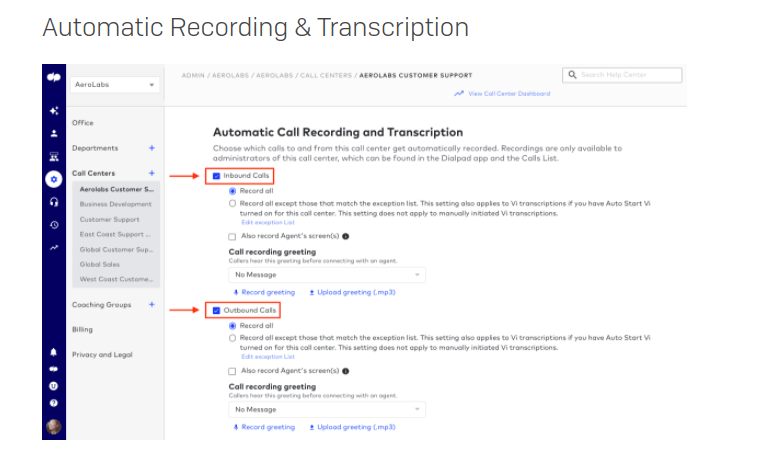 automatic inbound and outbound call recording feature in dialpad